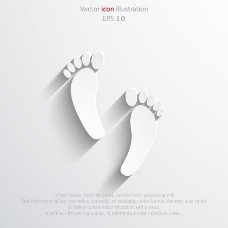 theft proof: Vector Human foot print web flat icon. Eps 10.