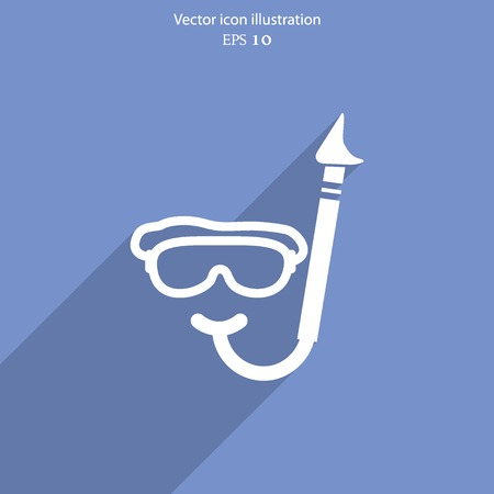 free diver: Vector diving mask and tube web flat icon.