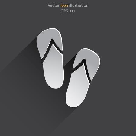 sandals: Vector beach sandals web flat icon.