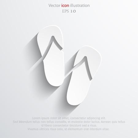 sandals: Vector beach sandals web flat icon.  Illustration