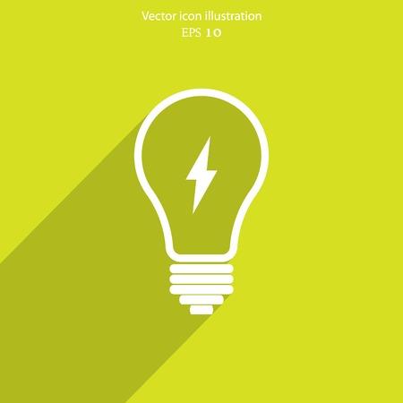 bombilla de luz: Bombilla con webi plana. Vectores