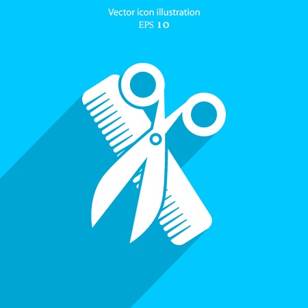 male grooming: Vector hair salon tools with scissors and comb