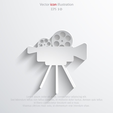 videocamera: Vector camera web icon flat design.