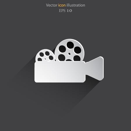documentary: Vector camera web icon flat design.