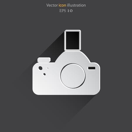 photocamera: Vector photo camera web icon, flat design