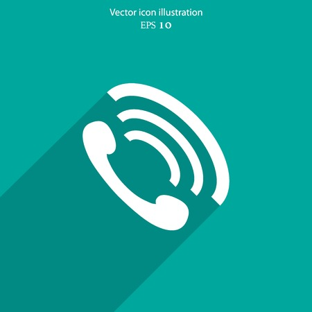 phone handset: Vector phone handset flat icon. Eps 10 vector illustration.