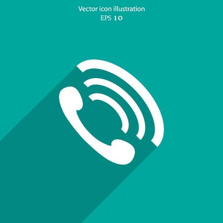 phone handset: Vector telefono portatile icona piatta. Eps 10 illustrazione vettoriale.