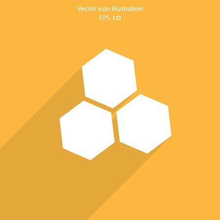 praiseworthy: Vector honey cells web flat icon. Eps 10 illustration.