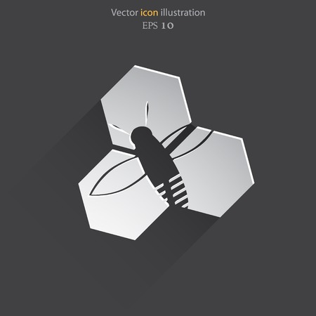 praiseworthy: Vector honey cells web flat icon.  Illustration