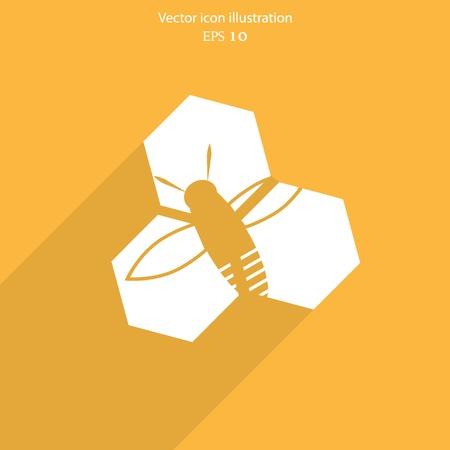 combing: Vector honey cells web flat icon. Eps 10 illustration.