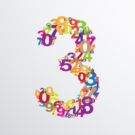numeracy: Vector number three from numbers. Eps 10 illustration.