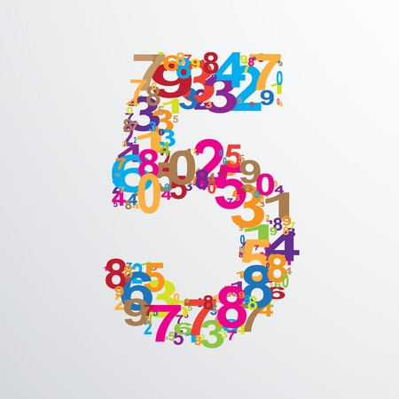 numeracy: Vector number five from numbers. Eps 10 illustration. Illustration