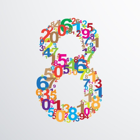 numeracy: Vector number eight from numbers. Eps 10 illustration. Illustration