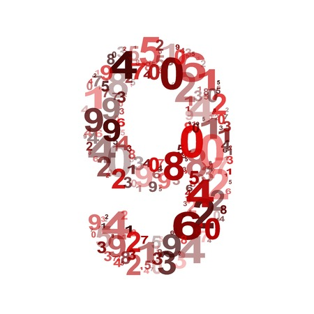 numeracy: Vector number nine from numbers. Eps 10 illustration. Illustration