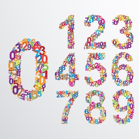 nombres: Num�ros de vecteur � partir de plusieurs ensemble. EPS 10 illustrations.