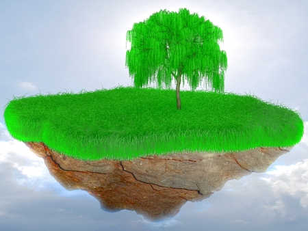 3D Little flying grass island with a tree.