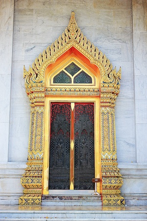 Door of Marble Temple in Bangkok (Thailand), a Church made with marble, a place of worship. Stock Photo - 13366864