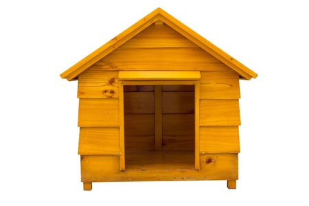 dog kennel: Dog house is made of wood
