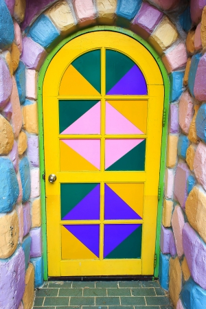 Doors are decorated with bright colors give a sense of fun. photo