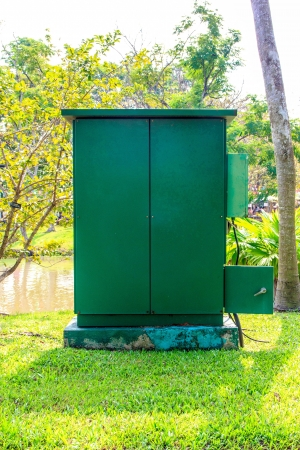 In box have switchs electric for contral the system of garden. Stock Photo - 17033274