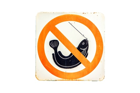 Old Sign  rust  no fishing in garden. Stock Photo - 17033210