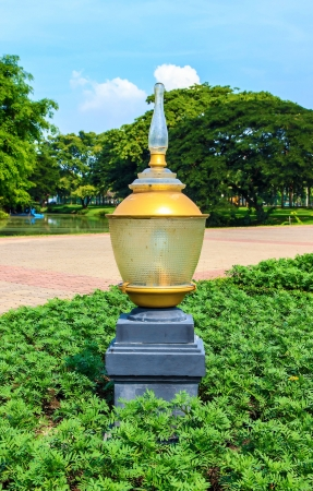 The lamp in garden for people in time night
