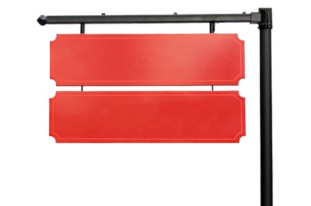 Blank red hanging signs on a steel pole. Stock Photo - 17090349