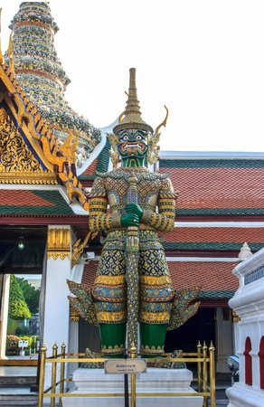 Thai name tosakanth of ravana stay in  the Temple of the Emerald Buddha Stock Photo - 17177400