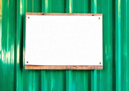 Sign white on  galvanized iron in construction arer Stock Photo - 17177323
