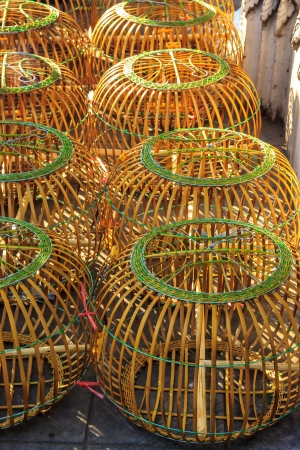 Cage bird make by wood for sell in market Stock Photo - 17177369