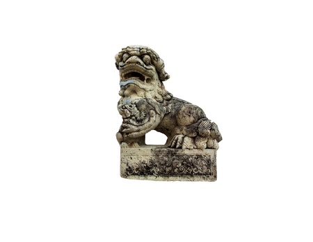 lion figurines: Statue lion in wat phra kaew have body small  Stock Photo