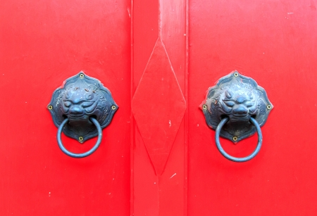 Tap door red  make same lion shape. Stock Photo - 17177139