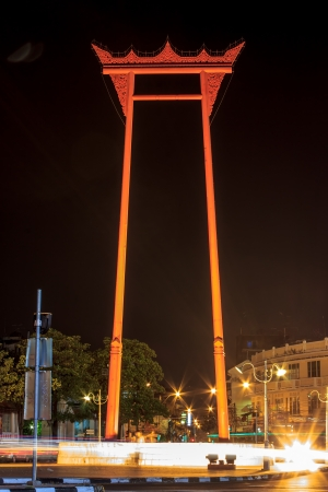 The Giant Swing in night time, Bangkok.  Stock Photo - 17386060