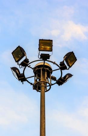Pole  Spotlight in garden for light in night time. Stock Photo - 17386065