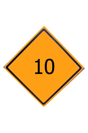 Sign number 10 have yellow for driver can see. Stock Photo - 17385759