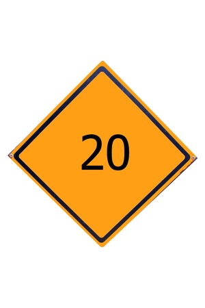 Sign number 20  have yellow for driver can see. Stock Photo - 17385764