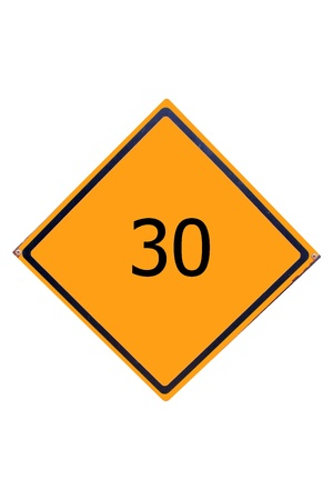 Sign number 30  have yellow for driver can see. Stock Photo - 17385770