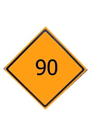 Sign number 90  have yellow for driver can see. Stock Photo - 17385788