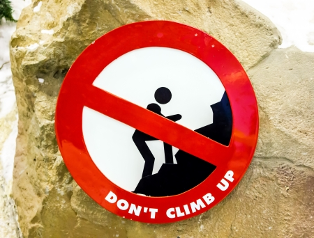 sign red  don't climb up in park   Stock Photo - 17603360