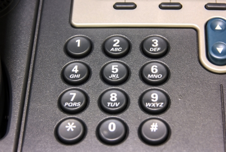 Close up button numbers on telephone office