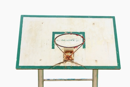 Basketball hoop isolate old and alone  on garden  photo