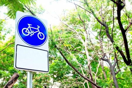 way to go: Sign bicycle go to way of garden  Stock Photo