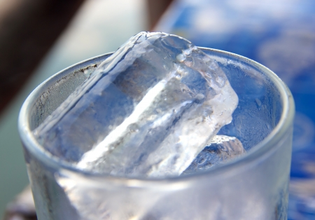 ices: Tumbler and ices focus on top ice Stock Photo