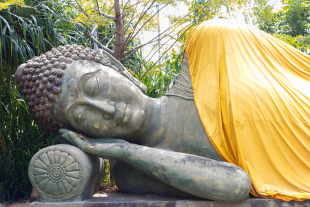 reclining: Model of the reclining buddha stone for education