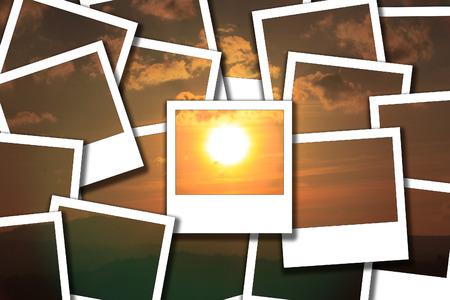Sunset on mountain , sun have gold light. process instant photo Stock Photo