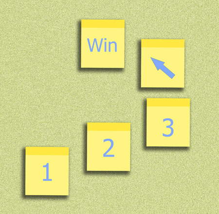 sticky note yellow and number step for plan to successful bussiness Stock Photo