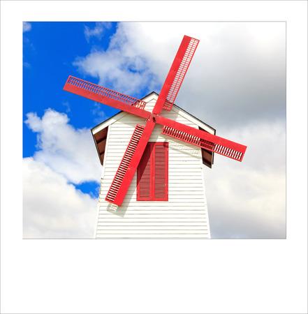 Turbine house on farm model for service traveler process instant photo style