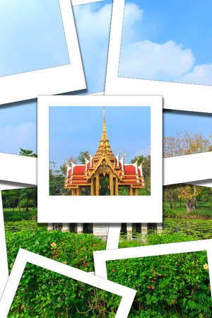 Pavilion art thai style on pool and sky blue process instant photo style