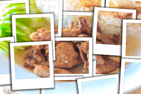 Fried sliced pork with garlic  and  eggs star.process instant photo style Stock Photo