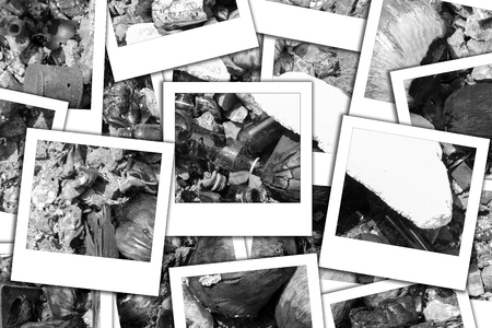 garbage  on sea it have glass , canned and   coconut process instant photo and black white Stock Photo